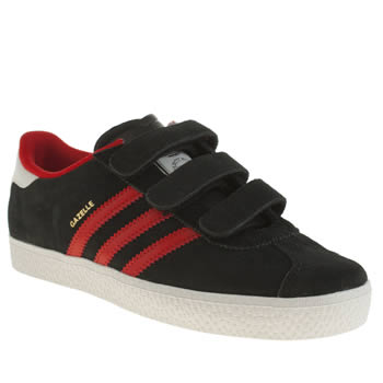 Boys Adidas Black & Red Gazelle 2 Boys Junior