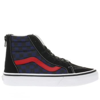 Vans Black and blue CHECKERBOARD SK8-HI ZIP Boys Junior