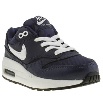 Nike Navy & White Air Max 1 Boys Junior
