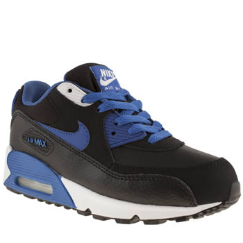 kids nike black and blue air max 90 trainers