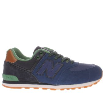 New Balance Navy & Green 574 New England Boys Junior