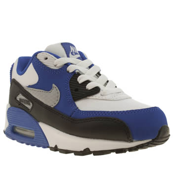Boys Nike White & Blue Air Max 90 Boys Junior