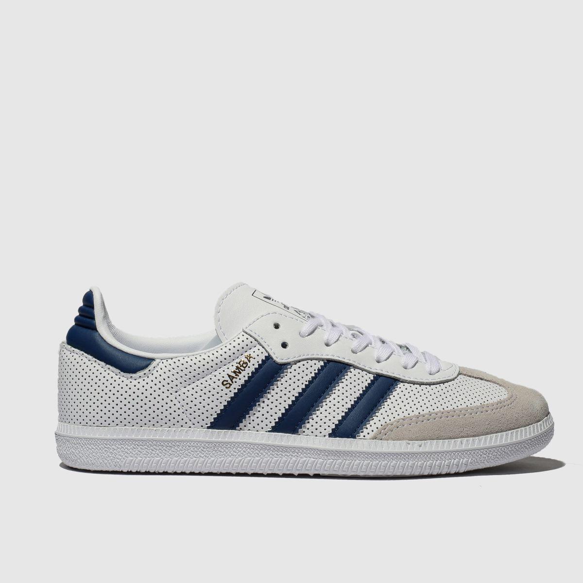 Adidas White & Blue Samba Og Trainers Youth