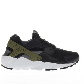 Boys Nike Black & Green Huarache Run Boys Youth