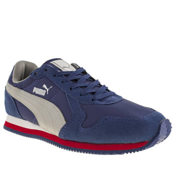 kids puma blue st runner lace trainers