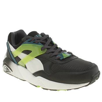 Puma Black & Green R698 Mesh Boys Youth