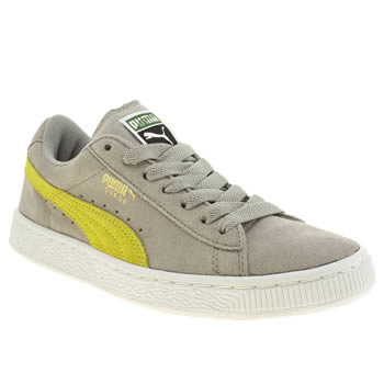 Puma Light Grey Suede Classic Lace Boys Youth