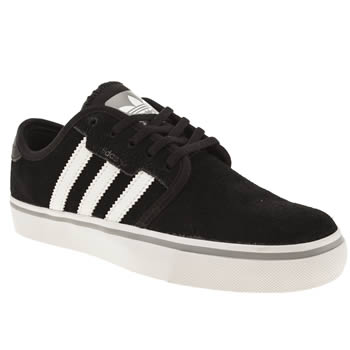 kids adidas black & white seeley trainers