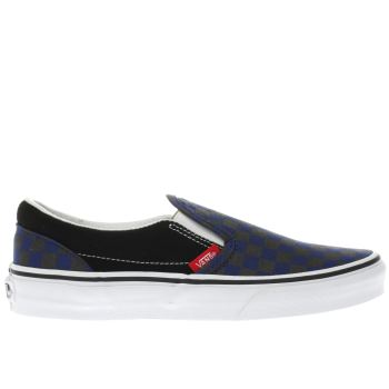 VANS BLACK AND BLUE SLIP-ON CHECKERBOARD BOYS YOUTH TRAINERS
