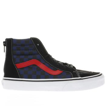 Vans Black and blue CHEKCKERBOARD SK8-HI ZIP Boys Youth