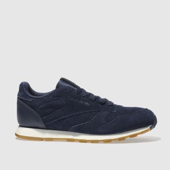 REEBOK NAVY CLASSIC LEATHER BOYS YOUTH TRAINERS