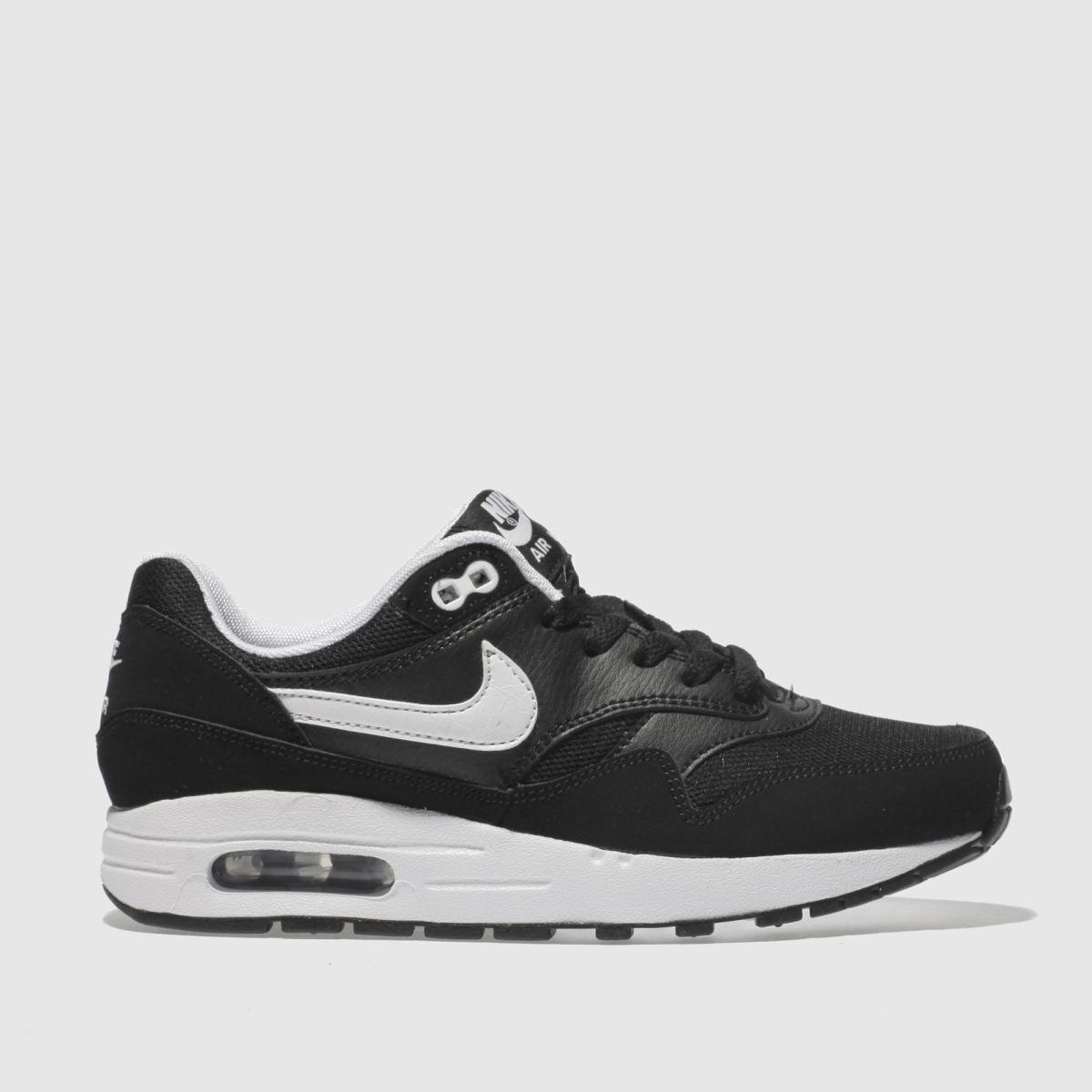Nike Black & White Air Max 1 Boys Youth Trainers