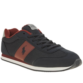 POLO RALPH LAUREN NAVY & RED ZUMA BOYS YOUTH TRAINERS