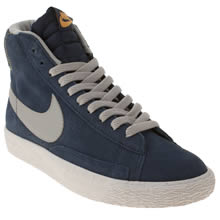 Youth Navy & Grey Nike Blazer Mid Vintage