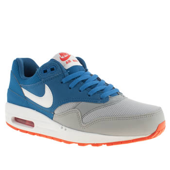 kids nike grey & navy air max 1 trainers
