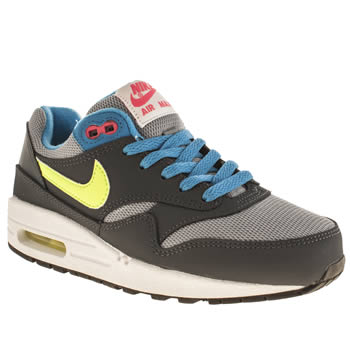 kids nike dark grey air max 1 trainers