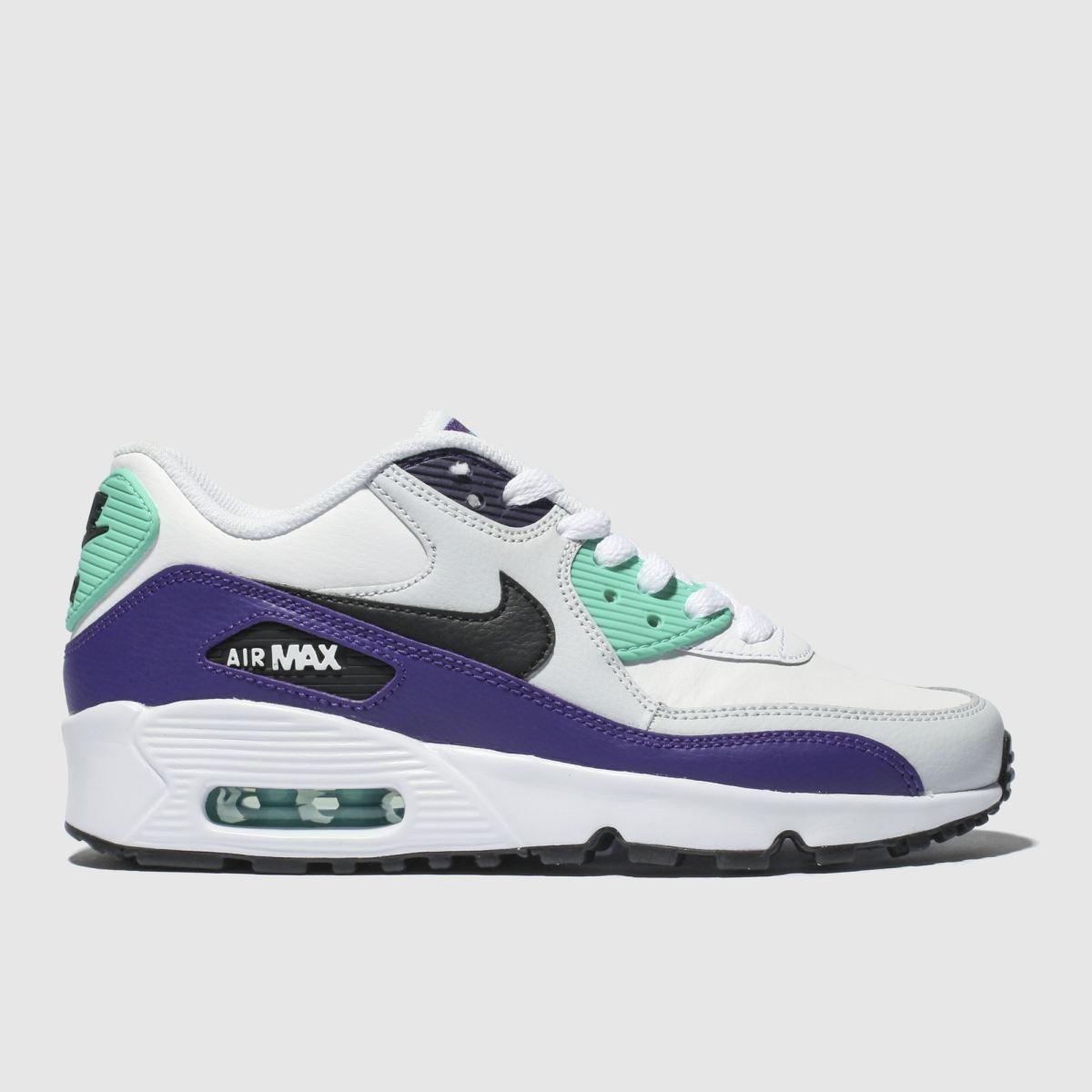 Nike White & Purple Air Max 90 Mesh Trainers Youth