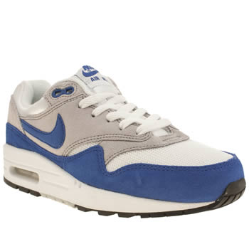 Nike White & Blue Air Max 1 Boys Youth