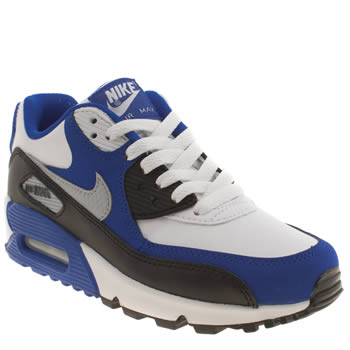 Boys Nike White & Blue Air Max 90 Boys Youth