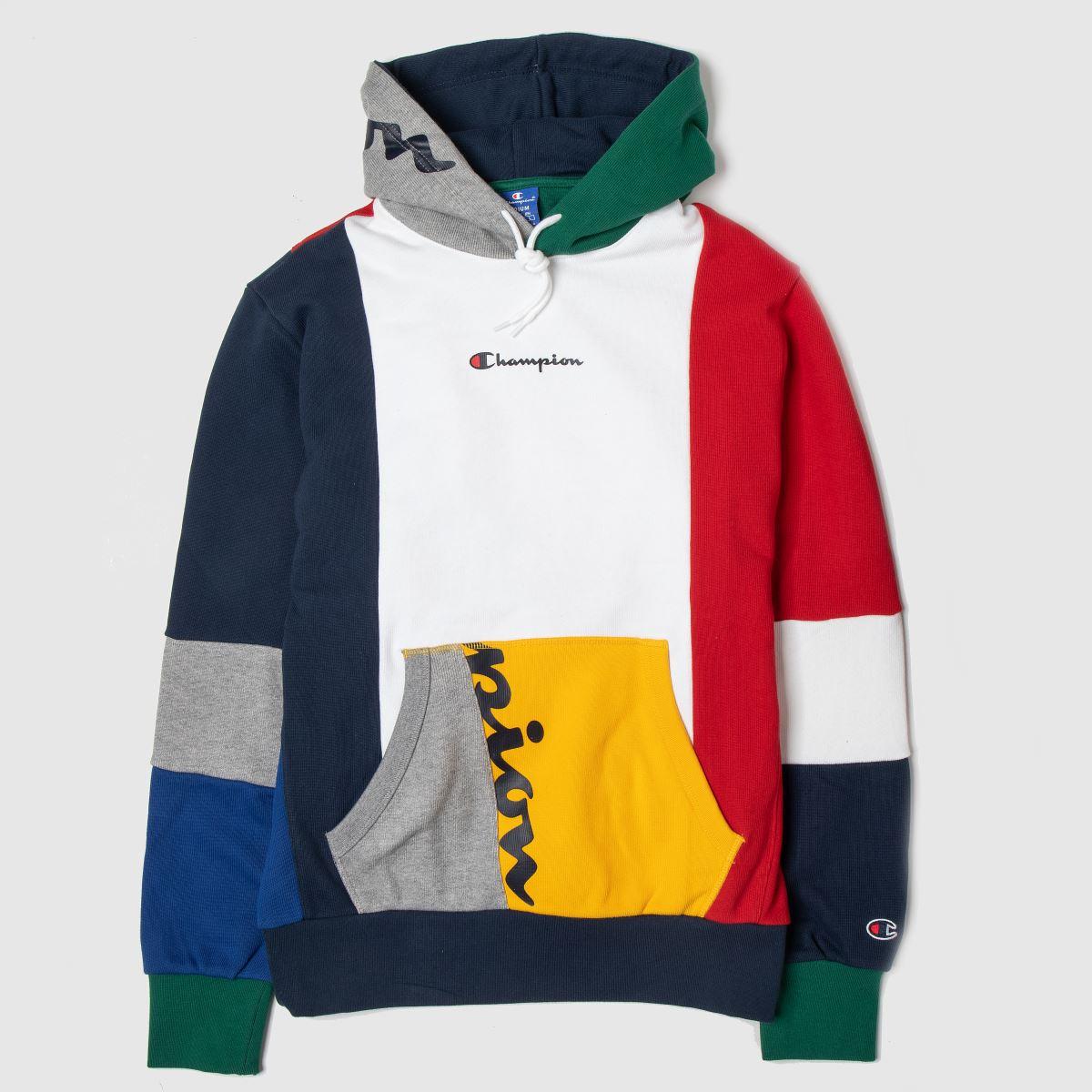 Champion Clothing Champion White & Navy Hooded Sweatshirt