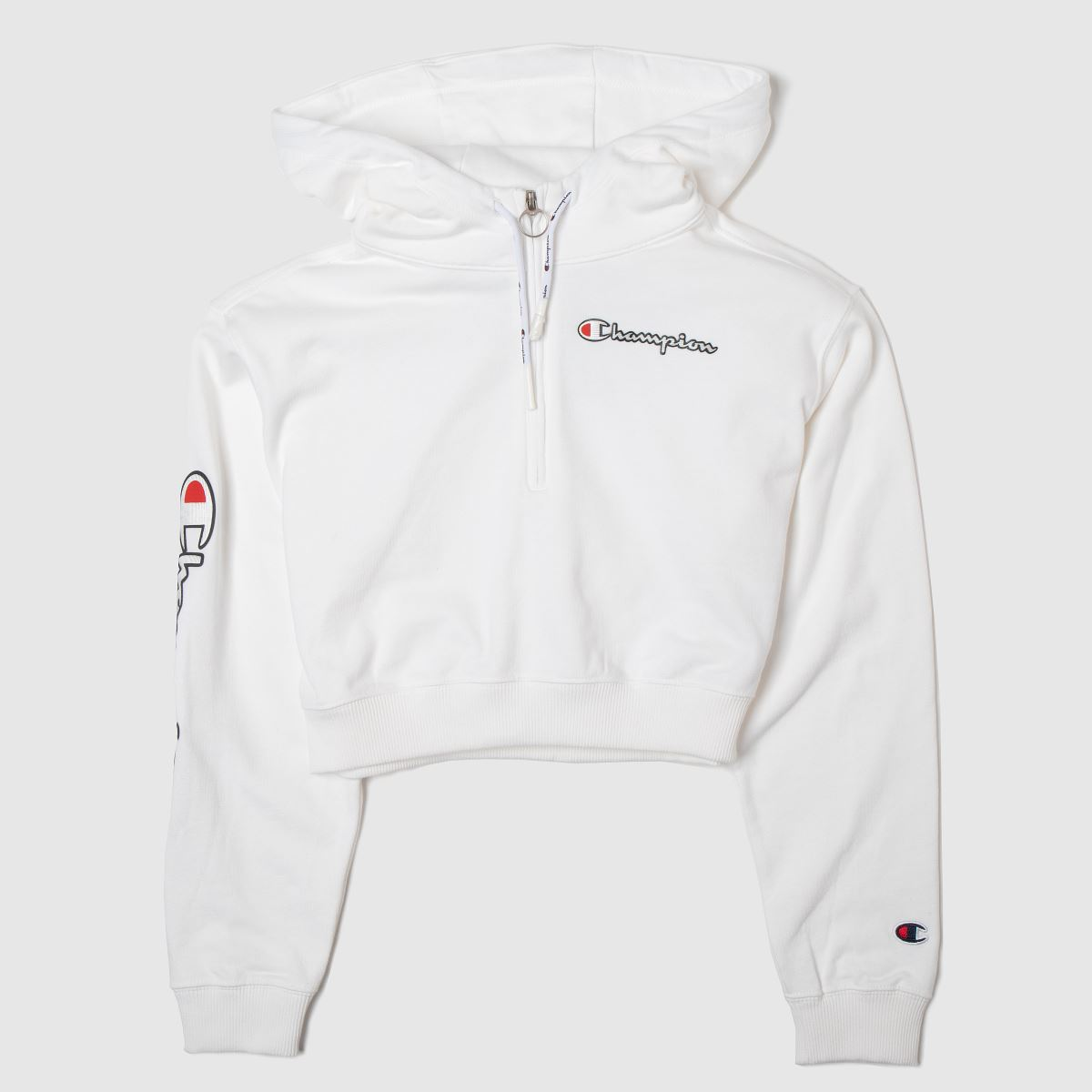 Champion Clothing Champion White Cropped Hoodie