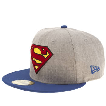 New Era Grey Superman Heather Hero 59fifty Caps and Hats