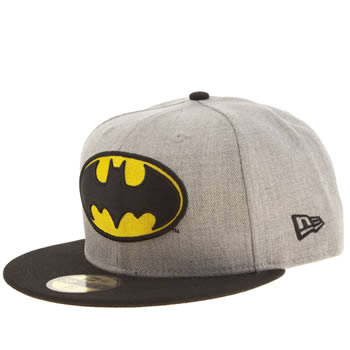 New Era Grey & Black Batman Heather Hero 59fifty Caps and Hats