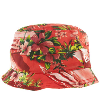 Accessories New Era Red Tropical Island Bucket Caps and Hats