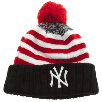 New Era Red & Black Snowfall Stripe Bobble Caps and Hats