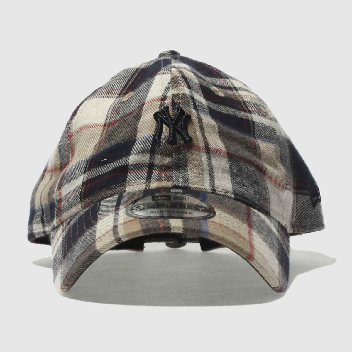 New Era New Era Navy & Beige Spring Plaid 9forty Ny Yankees