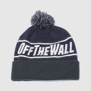 Vans Navy & Green OFF THE WALL POM BEANIE Caps and Hats