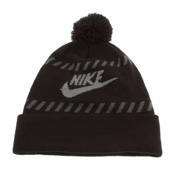 Nike Black & Grey Futura Pom Beanie Caps and Hats