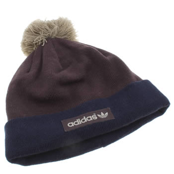 Adidas Navy Woven Logo Pompom Beanie Caps and Hats