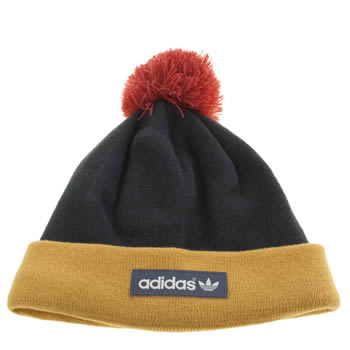 Adidas Blue & Yellow Wv Logo Pom Beanie Caps and Hats