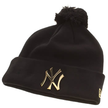 New Era Black & Gold Ny Metal Cuff Bobble Caps and Hats