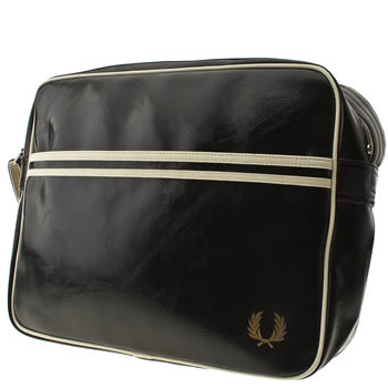 Fred Perry Black & White Faux Leather Bags