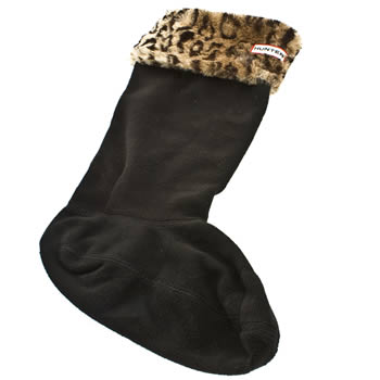 Hunter Black & Brown Fleece Leopard Welly Socks