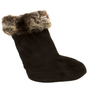 Hunter Black & Grey Furry Cuff Welly Socks