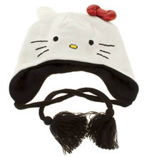 White & Black Vans Hello Kitty Flap Beanie