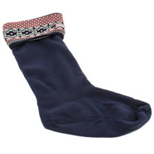 Navy & Red Hunter Fairisle Cuff Welly Sock
