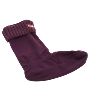 Hunter Purple Chunky Rib Welly Socks