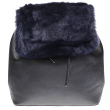 Missguided Black & Navy Faux Fur Backpack Bags