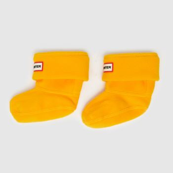 Hunter Yellow Kids Fleece Welly Socks