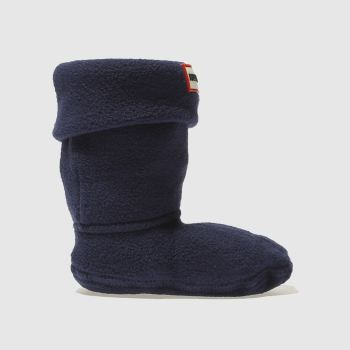Hunter Blue Kids Fleece Welly Socks