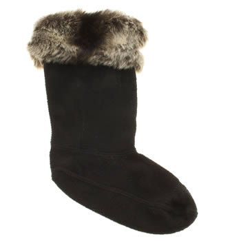 Hunter Black & Grey Kids Furry Cuff Welly Socks