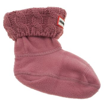 Hunter Pink Kids Cable Boot Socks