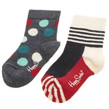 Happy Socks Navy & White Kids 2 Pack Spot/stripe Socks