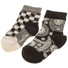 Happy Socks Black & White Kids 2 Pack Socks