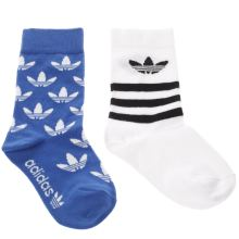 Adidas Blue & White Kids T-crew Sock 2 Pack Socks
