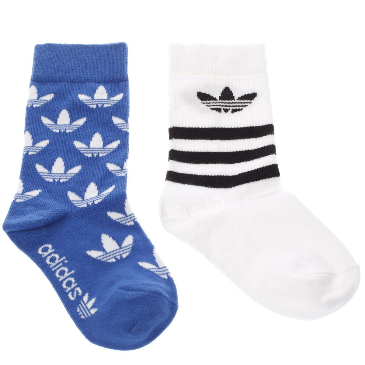 adidas blue & white kids t-crew sock 2 pack